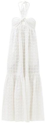 Mara Hoffman Basila Halter-neck Checked Organic-cotton Dress - White