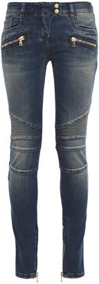 Balmain Faded Mid-rise Skinny Jeans