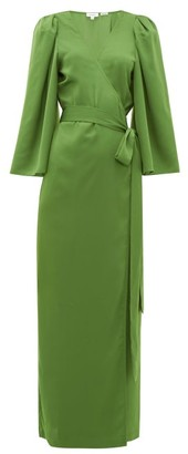 Rhode Resort Elliot Wraparound Crepe Maxi Dress - Green