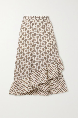 MICHAEL Michael Kors Asymmetric Ruffled Silk-blend Jacquard Midi Skirt - Ivory