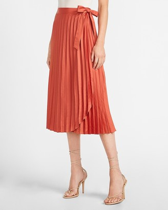 Express High Waisted Pleated Wrap Midi Skirt