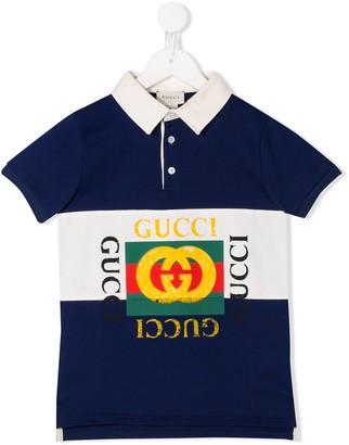 Gucci Kids Logo Print Polo Shirt