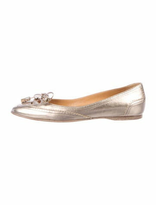 Hermes Leather Bow Accents Ballet Flats Gold
