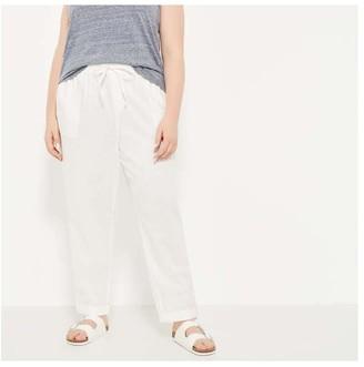 Joe Fresh Women+ Roll Cuff Linen Pants, White (Size 3X)