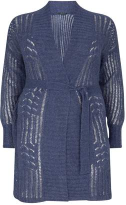 Marina Rinaldi Long Belted Wide-Knit Cardigan