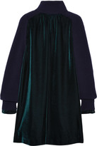 Sacai Wool-paneled Velvet Dress - Emerald