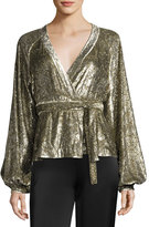 Co Metallic Velvet Wrap Blouse, Gold