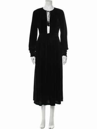Ulla Johnson Tie Neck Midi Length Dress Black