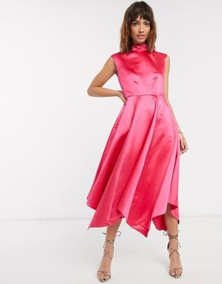 Closet London Closet gold handkerchief hem dress-Pink
