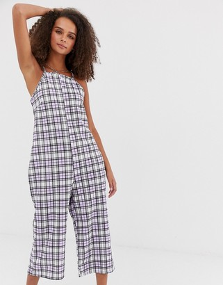 Heartbreak jumpsuit in grid check-Purple