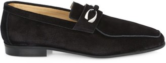Corthay Cannes 2 Black Suede Loafer With Silver Finished Double C Logo Hardware