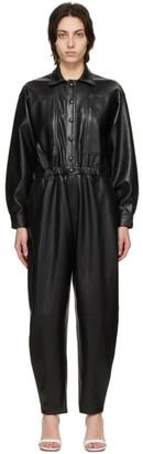 AGOLDE Black Vegan Leather 80s Jumpsuit