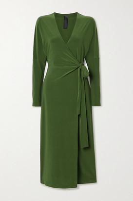 Norma Kamali Dolman Stretch-jersey Wrap Midi Dress - Green