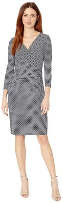 Lauren Ralph Lauren Geo-Print Jersey Dress (Lighthouse Navy/Colonial Cream) Women's Clothing