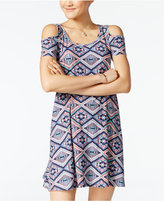Planet Gold Juniors' Printed Cold-Shoulder Dress