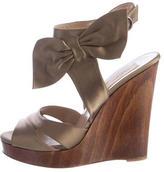 Valentino Satin Bow Wedge Sandals