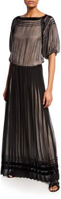 Giorgio Armani Pleated Mock-Neck Sleeveless Chiffon Gown