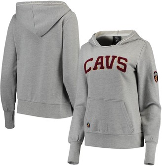 Women's Heathered Gray Cleveland Cavaliers French Terry Lining Thumbhole Pullover Hoodie