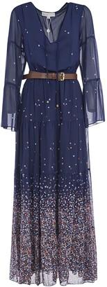 Michael Kors Belted Long Floral Print Dress