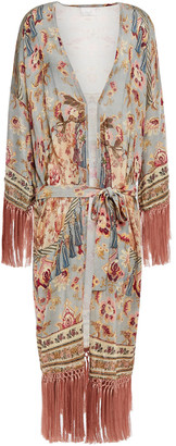 Camilla Tassel-trimmed Crystal-embellished Printed Knitted Kimono