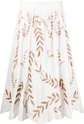 Steffen Schraut Embroidered Leaf Skirt