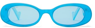 Gucci Oval Pearlescent-acetate Sunglasses - Womens - Light Blue