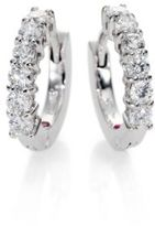 Roberto Coin Diamond & 18K White Gold Huggie Hoop Earrings/0.5