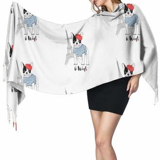 """Leyhjai Cute French Bulldog With Eiffel Tower Printed Cashmere Scarf Large Soft Warm Shawl Wrap Scarf Tassels Scarves 77"""" X 27"""""""