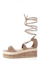 Quiz Mocha Lace Up Cork Flatform Sandals
