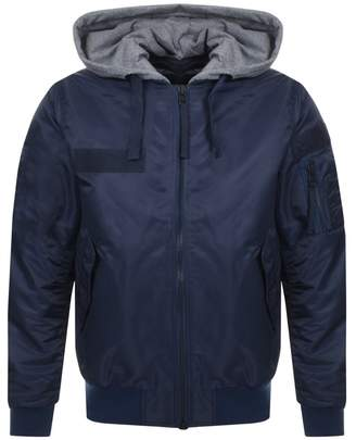 True Religion Hooded Bomber Jacket Blue