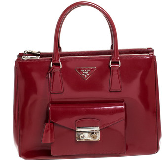 Prada Red Patent Leather Front Pocket Double Zip Lux Tote