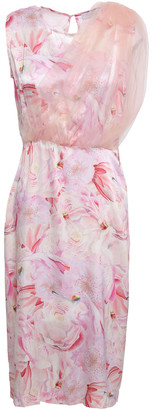 Isolda Layered Floral-print Silk-satin And Tulle Dress