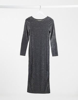 I SAW IT FIRST long-sleeved glitter midi dress in grey