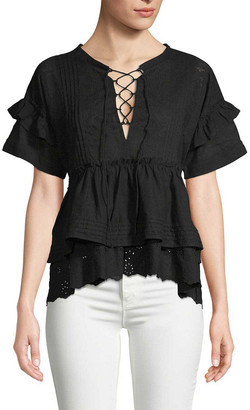 The Kooples Embroidered Lace-Up Blouse