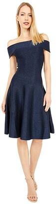 Ted Baker Shelbiy Knitted Bardot Skater Dress (Navy) Women's Clothing