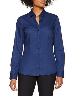 Seidensticker Women's Damen Bluse - Bügelfreie, taillierte Hemdbluse für eine Feminine Silhouette und optimalen Tragekomfort - Langarm - 100% Baumwolle Blouse, Blue (Dark Blue )