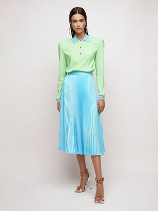 Versace Pleated Satin Twill Midi Skirt