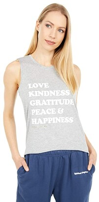 Spiritual Gangster Happiness Muscle Tank (Heather Grey) Women's Clothing