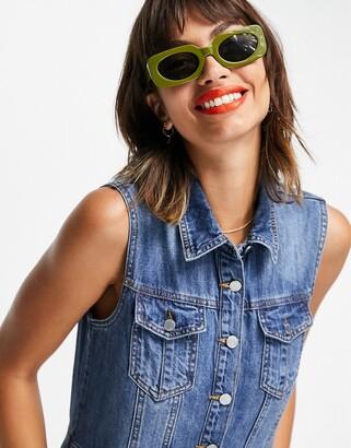 Lost Ink sleeveless maxi shirt dress in midwash denim