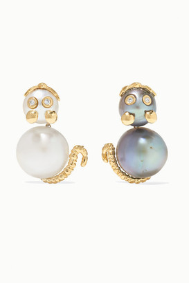 Yvonne Léon 18-karat Gold, Pearl And Diamond Earrings