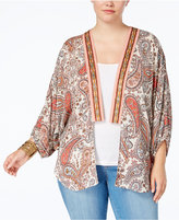 Eyeshadow Trendy Plus Size Printed Kimono Cardigan