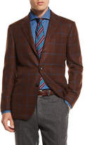 Kiton Windowpane Cashmere Two-Button Sport Coat, Tobacco