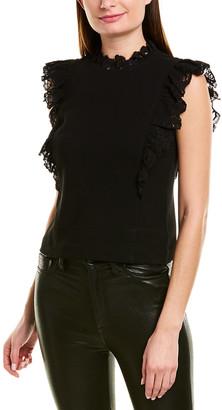 Rebecca Taylor Crepe Lace Top