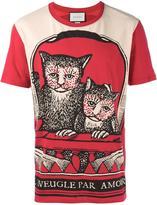 Gucci cat print t-shirt - men - Cotton - XS