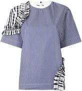 MSGM ruffled detail striped T-shirt - women - Cotton - 40