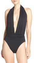 Vince Camuto Women's Halter Plunge One-Piece Swimsuit