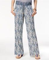 Rewash Juniors' Smocked-Waist Linen Soft Pants