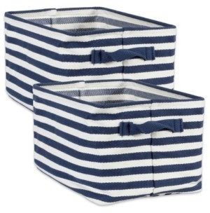 Design Imports Polyethylene Coated Herringbone Woven Cotton Laundry Bin Stripe French Rectangle Small Set of 2