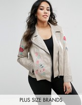 Alice & You Floral Embroidered Faux Leather Jacket With Studs