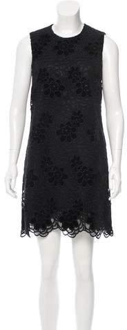 Dolce & Gabbana Embroidered Velvet-Accented Dress